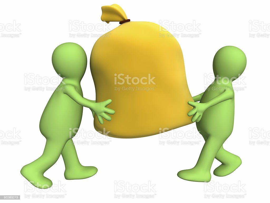 Two 3d puppets carrying big bag royalty-free stock photo