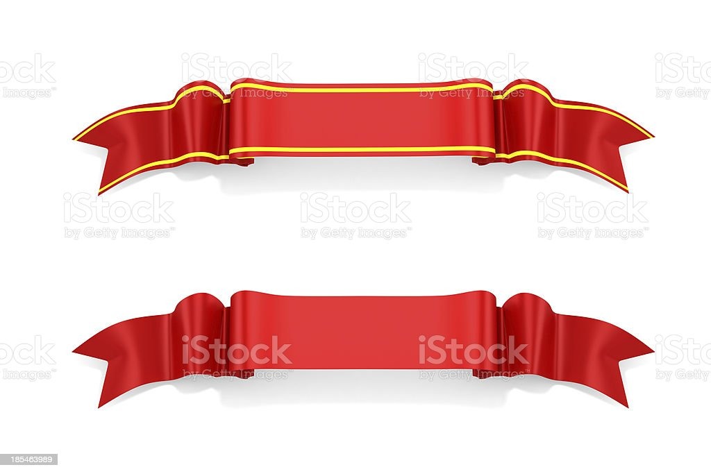 Two 3D red ribbons on white background stock photo