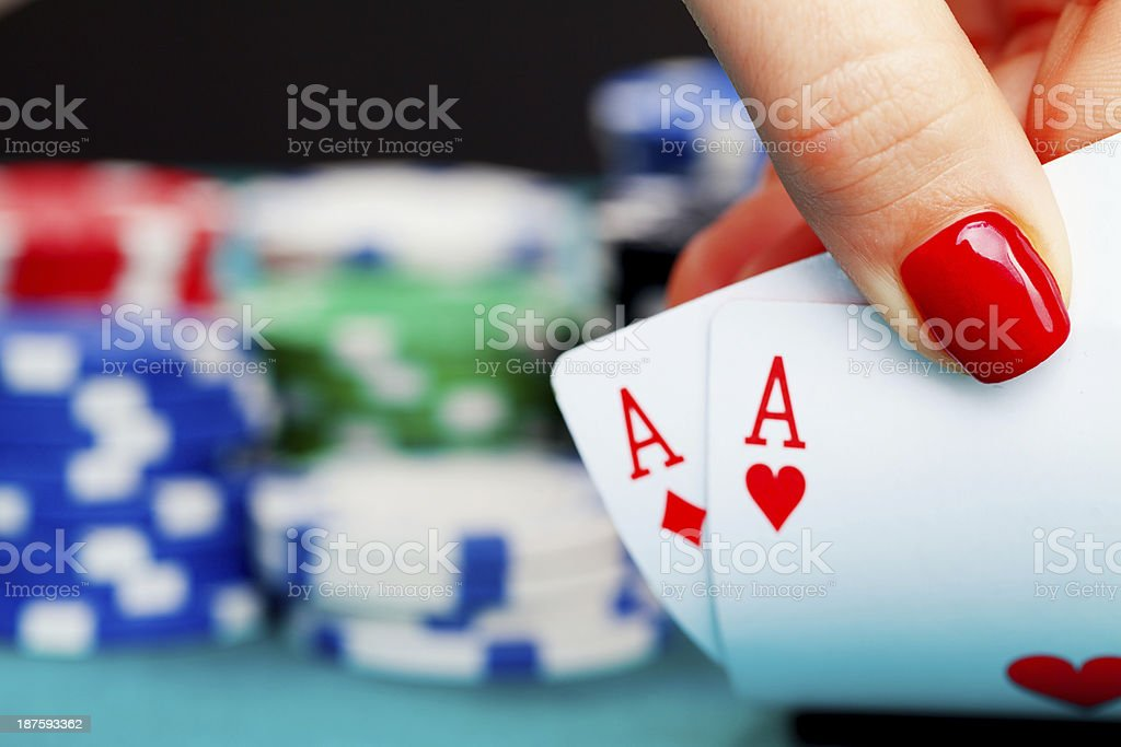 Two aces and gambling chips royalty-free stock photo