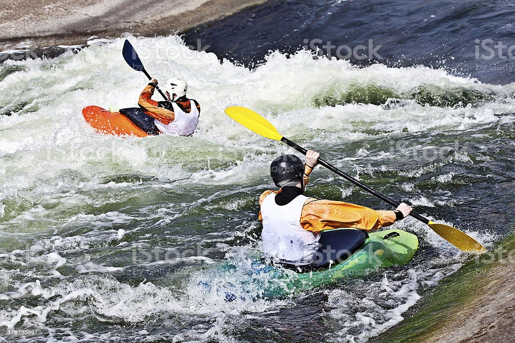 two active kayakers royalty-free stock photo