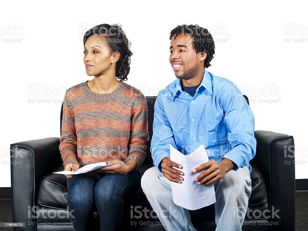 Two Actors on the Casting Couch Waiting for an Audition stock photo