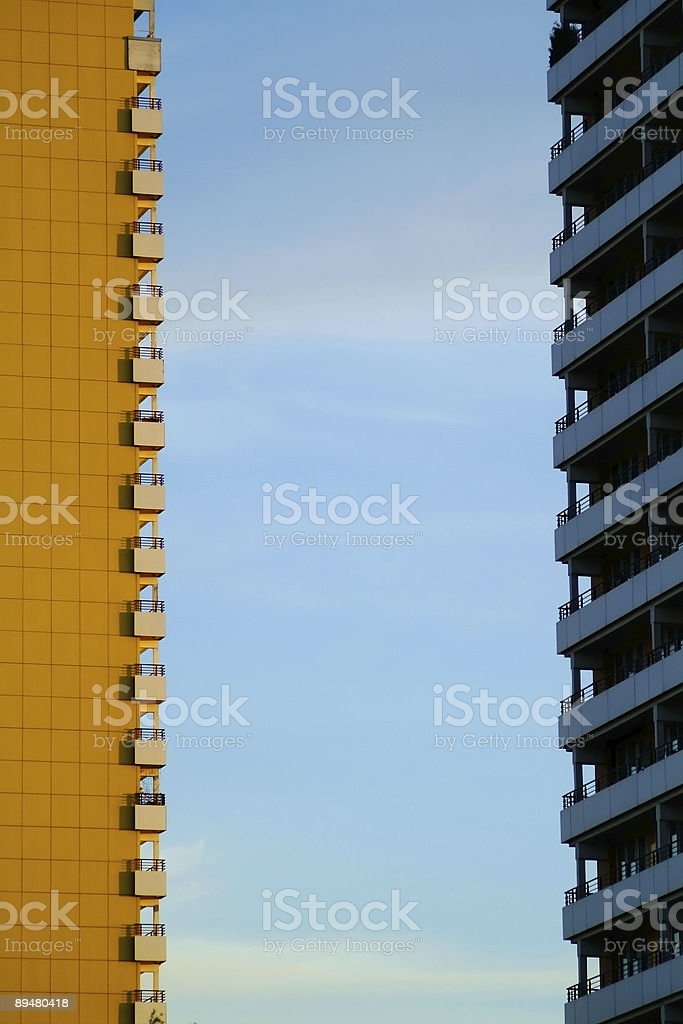 two adjecent apartment buildings in east berlin royalty-free stock photo