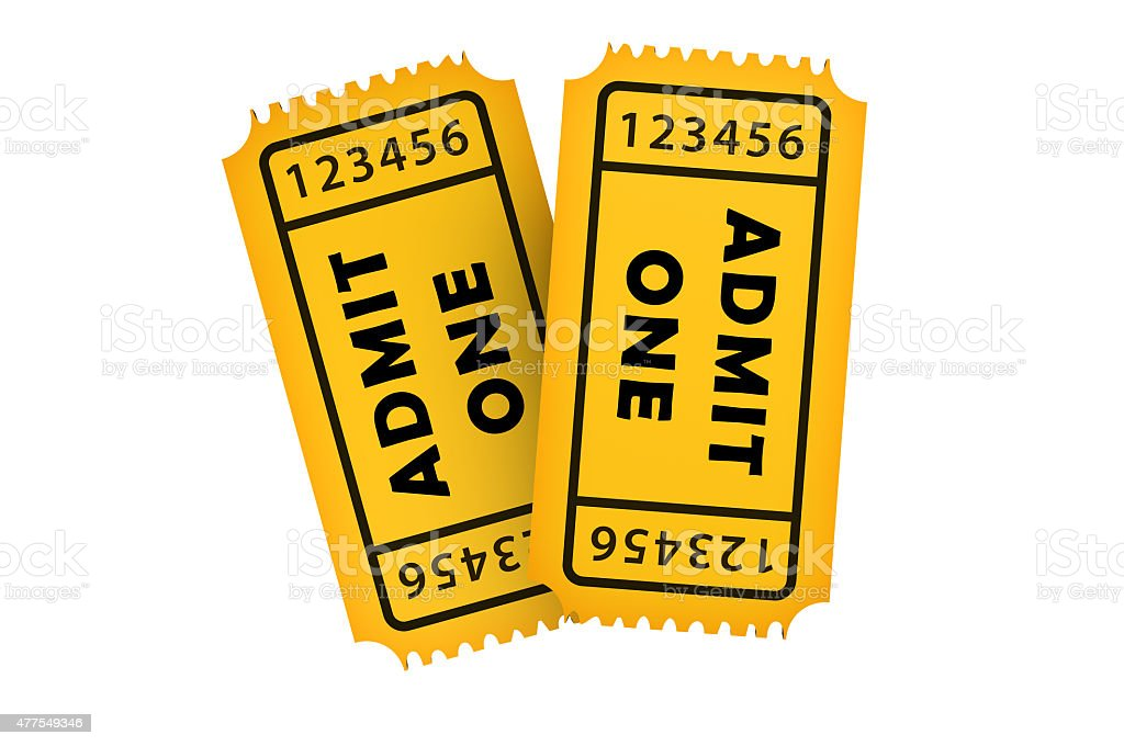 Two Admission Tickets stock photo