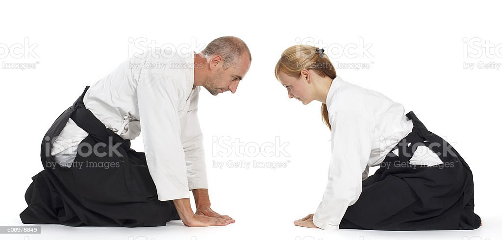 Two adults are training in Aikido stock photo