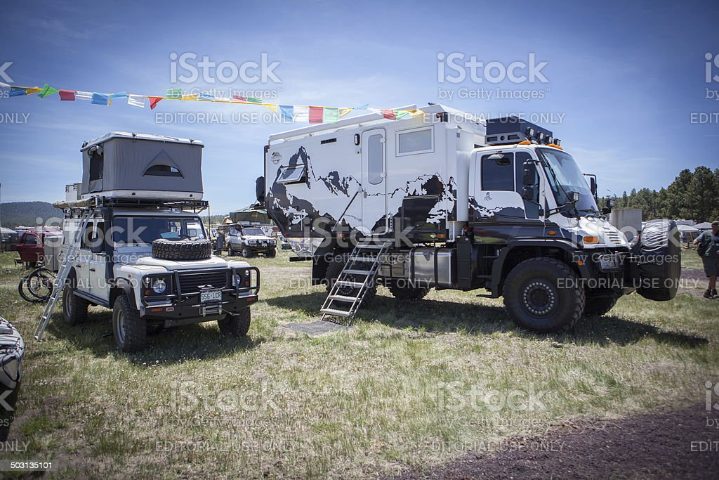 Two adventurous vehicles at the Overland Expo stock photo