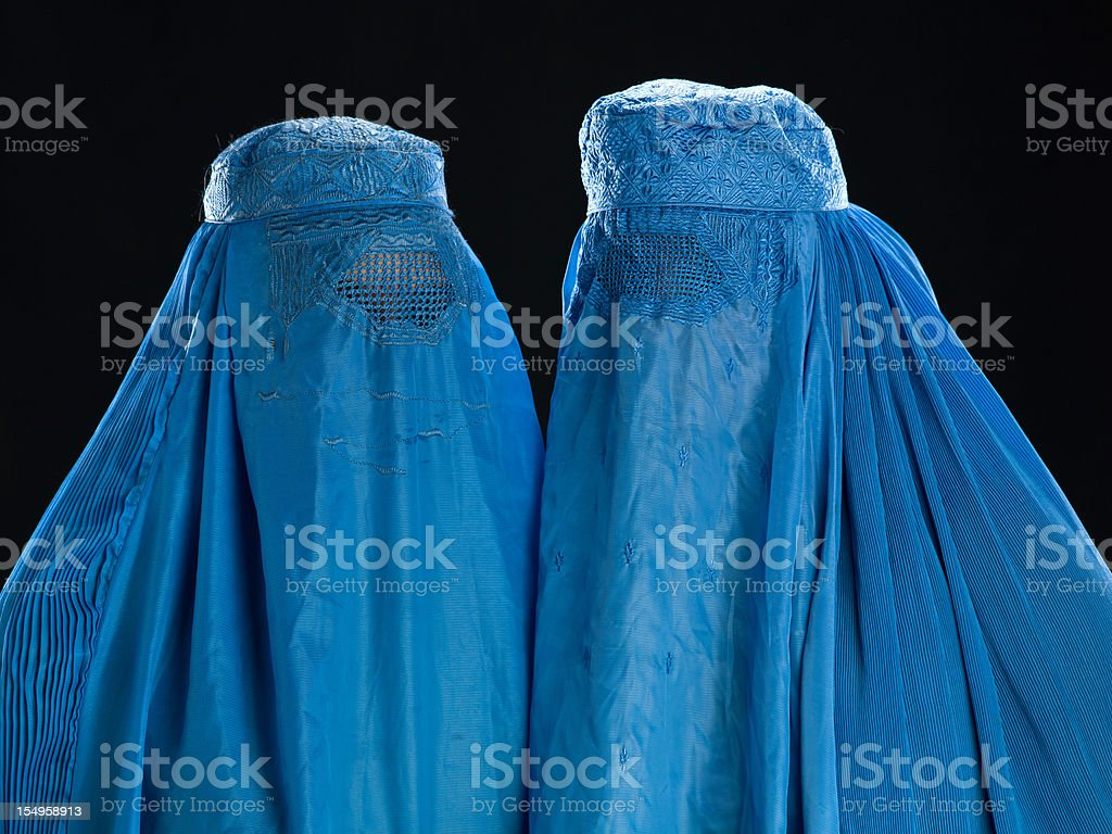 Two Afghan women wearing their burkha stock photo