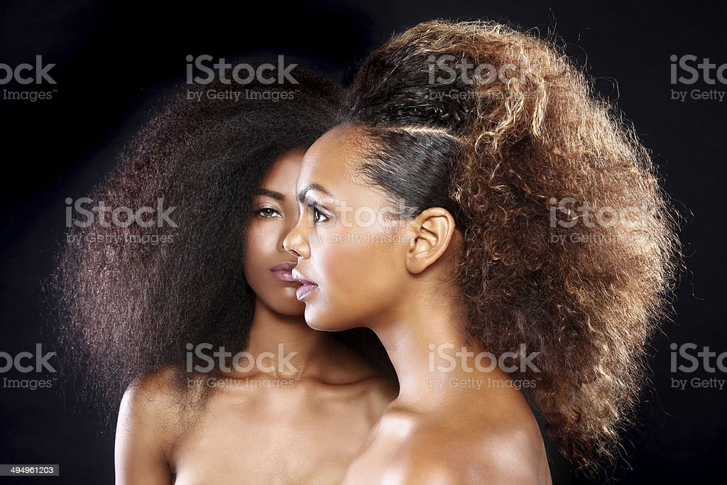 Two African American Black Women With Big Hair stock photo