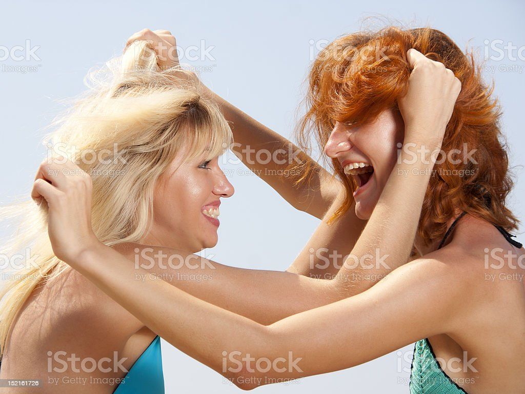 Two aggressive women royalty-free stock photo