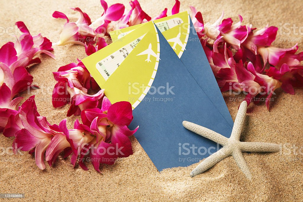 two airline tickets for a tropical paradise royalty-free stock photo
