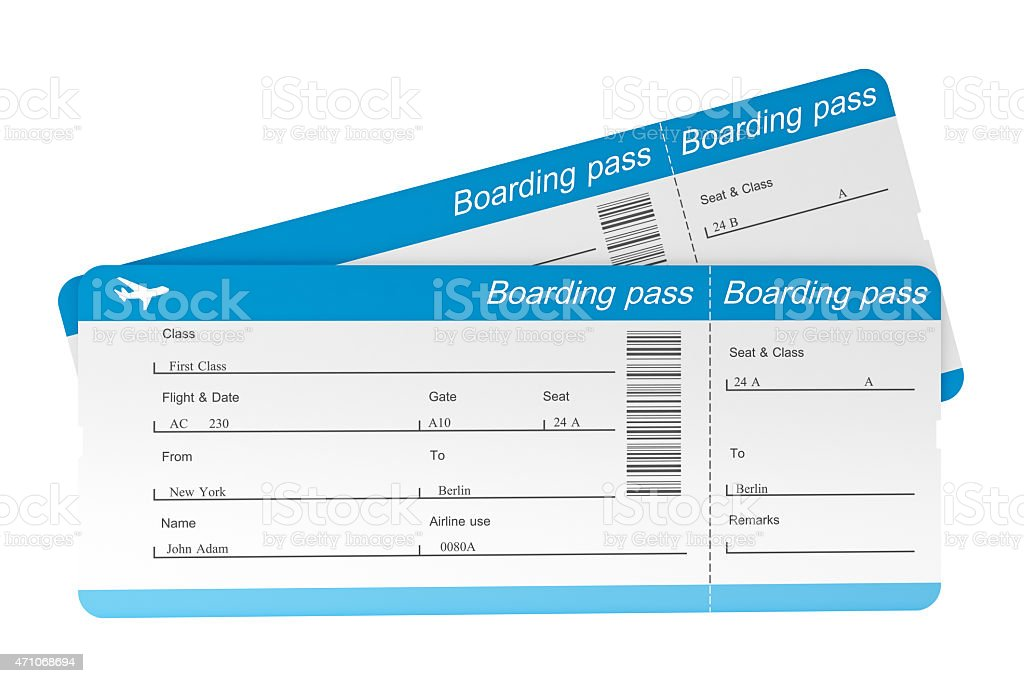 Two airplane boarding passes that have not been torn stock photo
