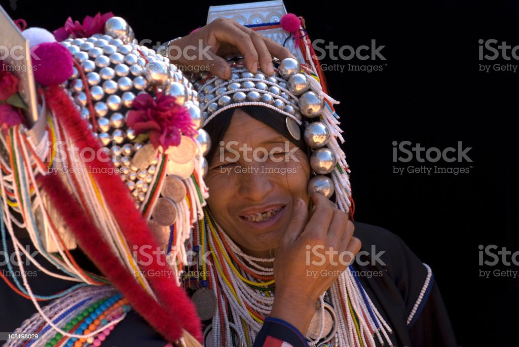Two Akha Women stock photo