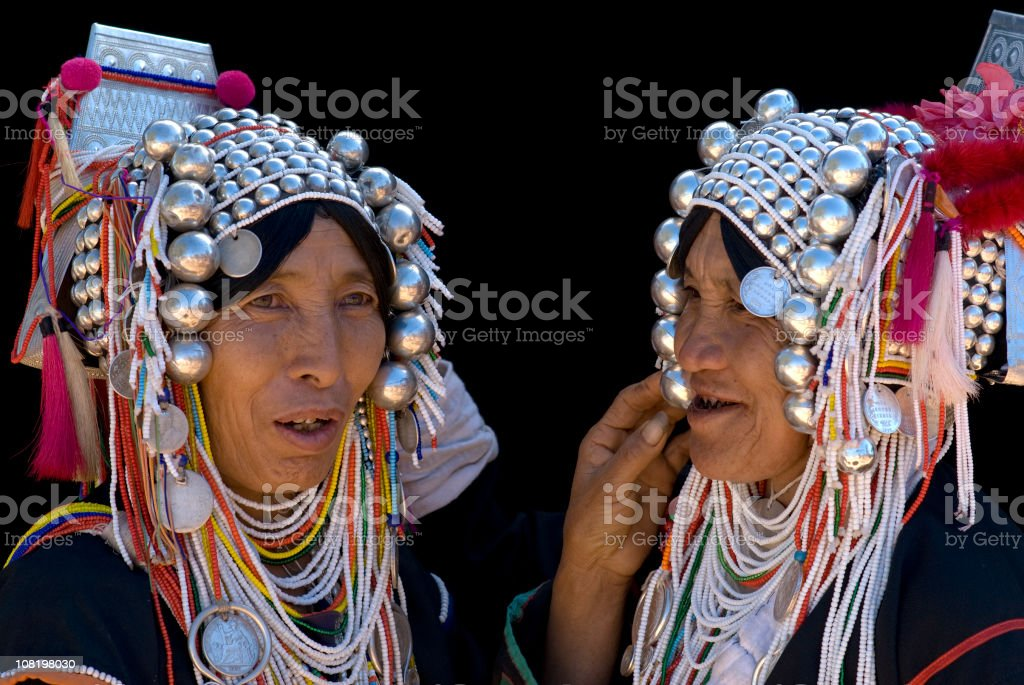Two Akha Women royalty-free stock photo