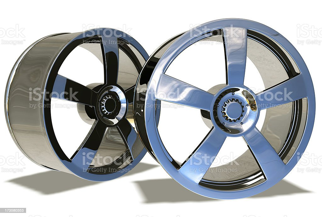 Two alloy car rims stock photo