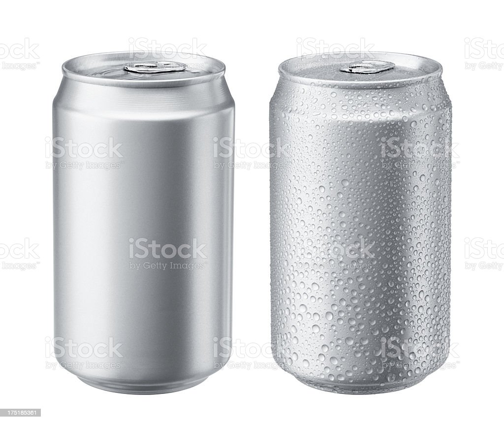 Two aluminum cans with one exhibiting sweat stock photo