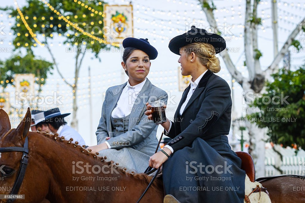 Two amazons at the April's Fair of Seville stock photo