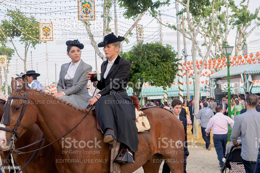 Two amazons wearing traditional Andalusian uniforms stock photo