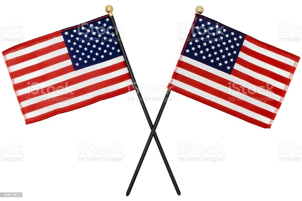 Two American Flags with selection path stock photo