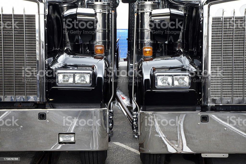 Two American Semi Trucks royalty-free stock photo
