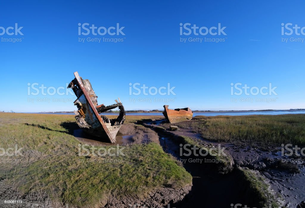 Two Ancient Boat Wrecks at Fleetwood stock photo