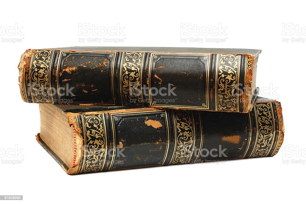 Two ancient books royalty-free stock photo