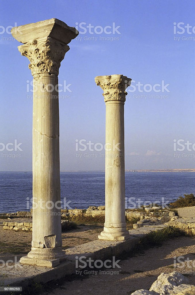 Two ancient columns stock photo