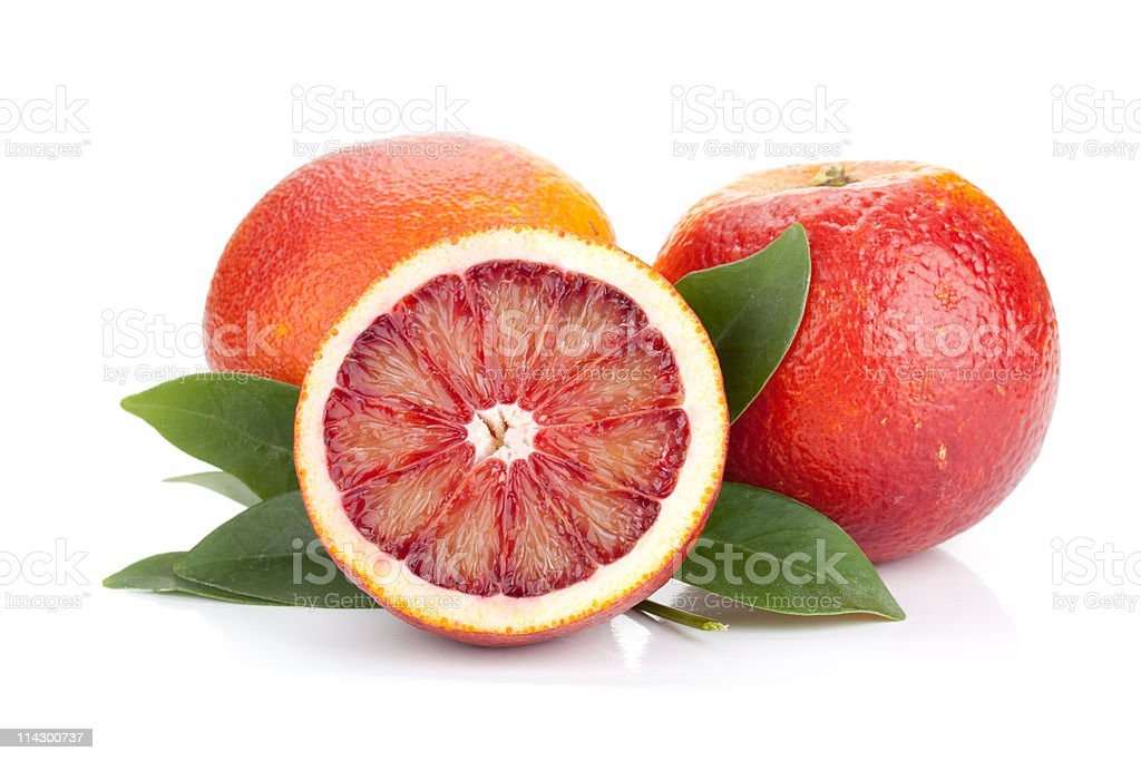 Two and half red oranges stock photo