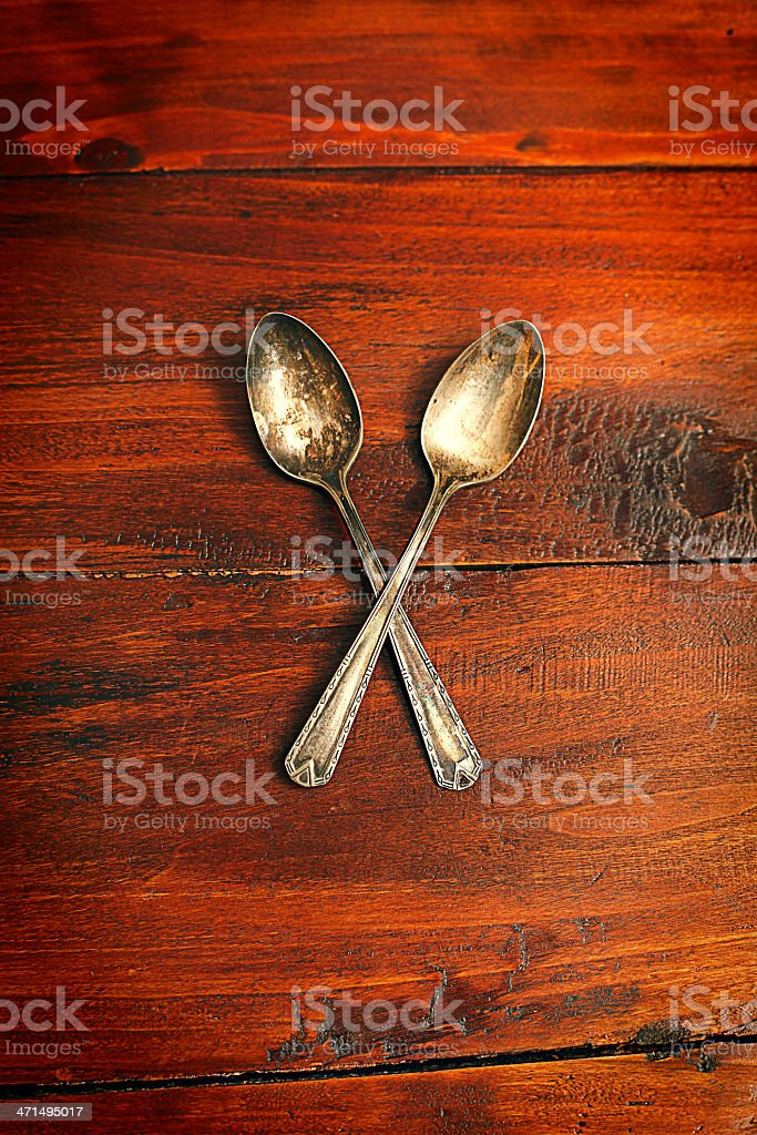 Two antique silver spoons stock photo