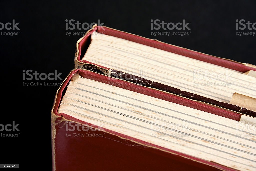 Two antique Victorian books on black royalty-free stock photo