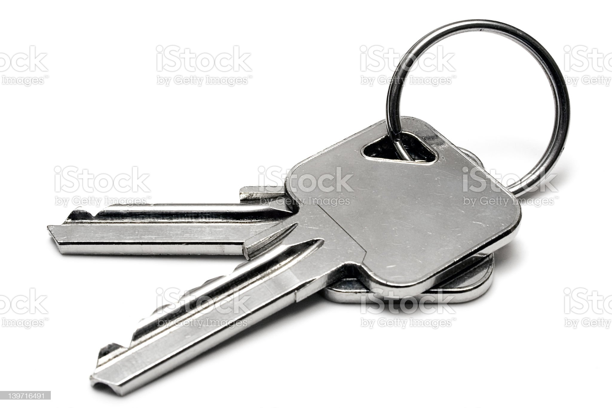 Two Apartment Keys w/ Ring royalty-free stock photo