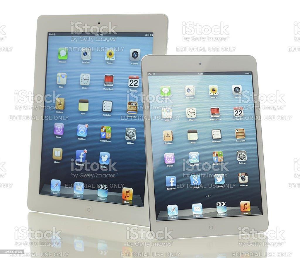 Two Apple iPad royalty-free stock photo