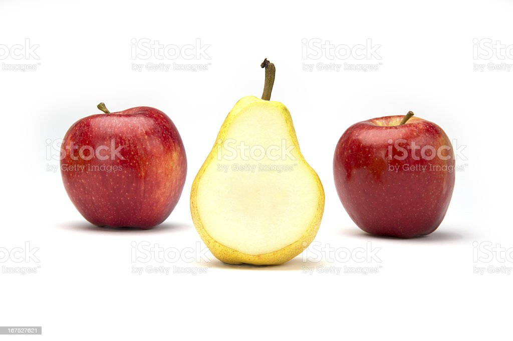 Two Apples and a Pear stock photo