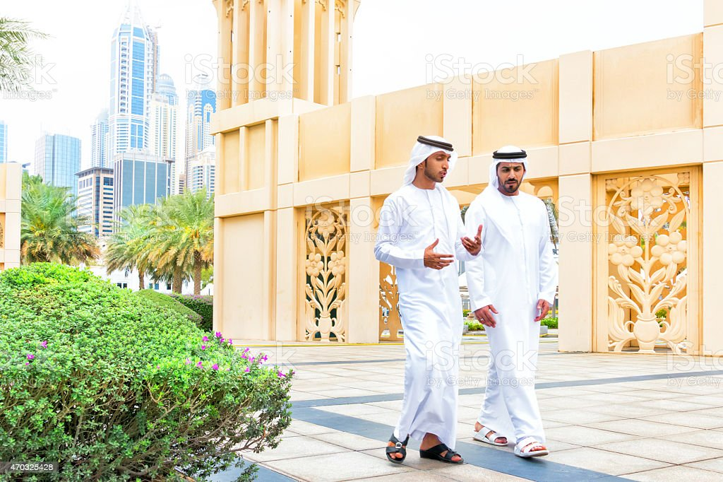 Two arab business people outside stock photo