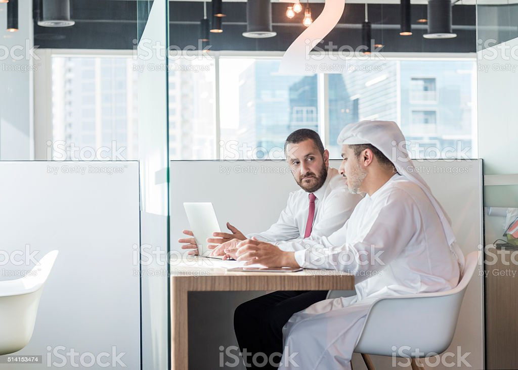 Two Arab businessmen in office cubicle, Dubai, UAE stock photo