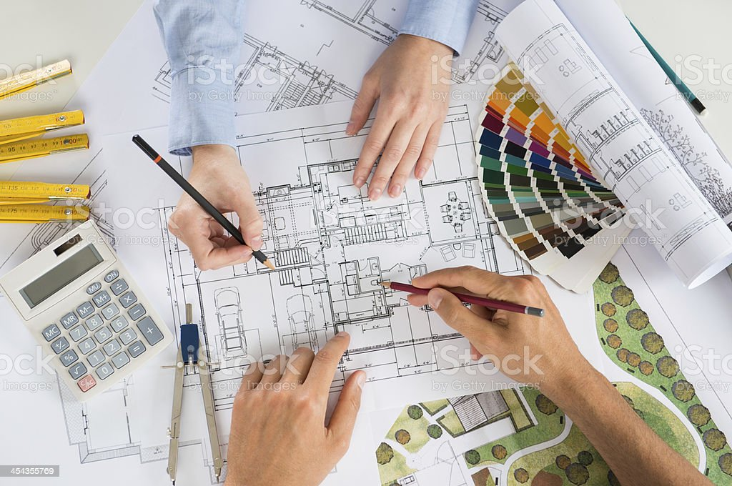Two Architect Working Together royalty-free stock photo