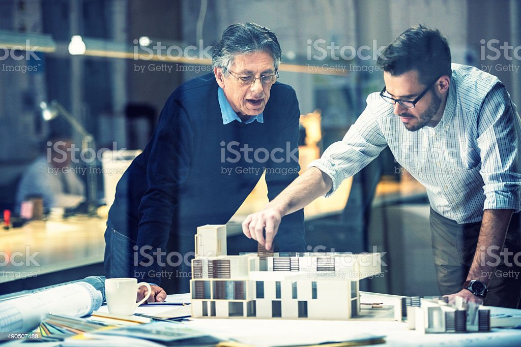 Two architects discussing new project stock photo