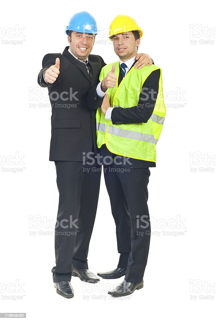 Two architects men giving thumbs royalty-free stock photo