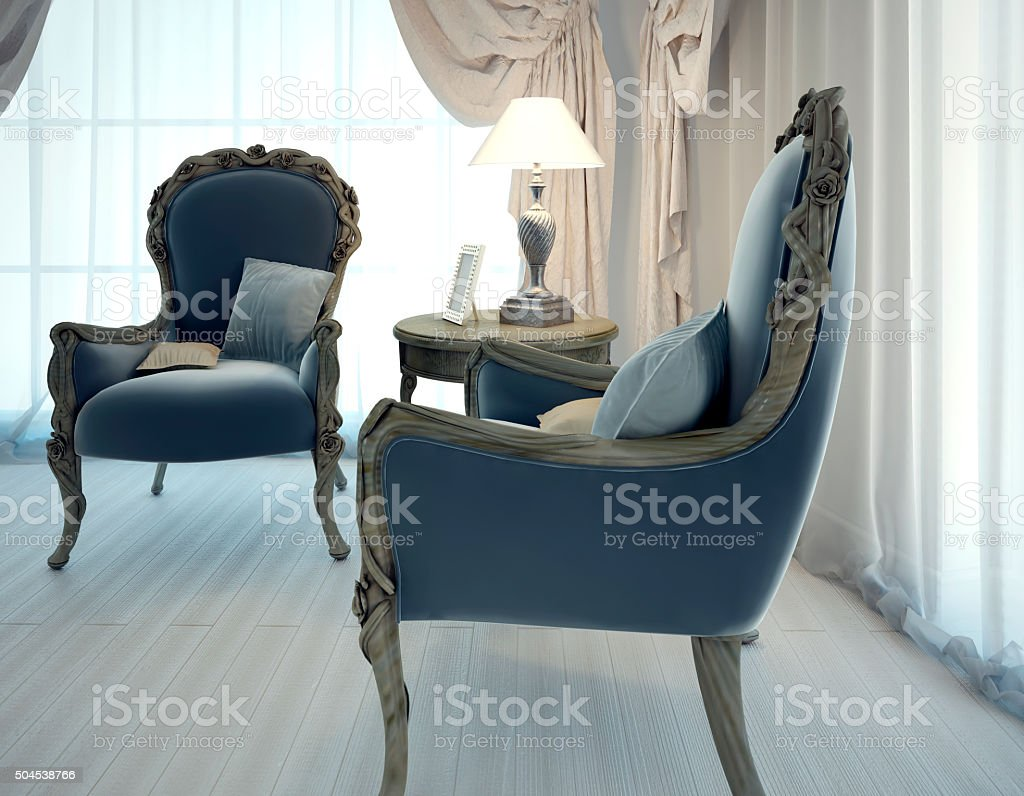Two armchairs in living room art deco style stock photo