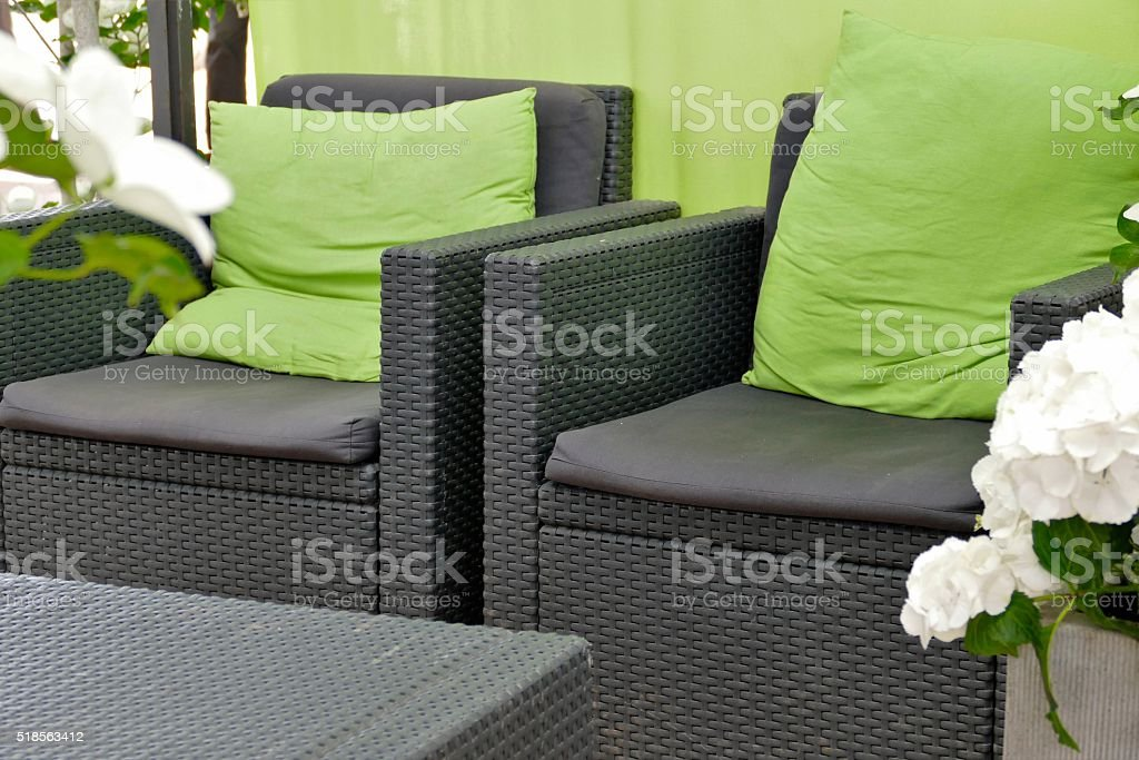 Two armchairs with table stock photo