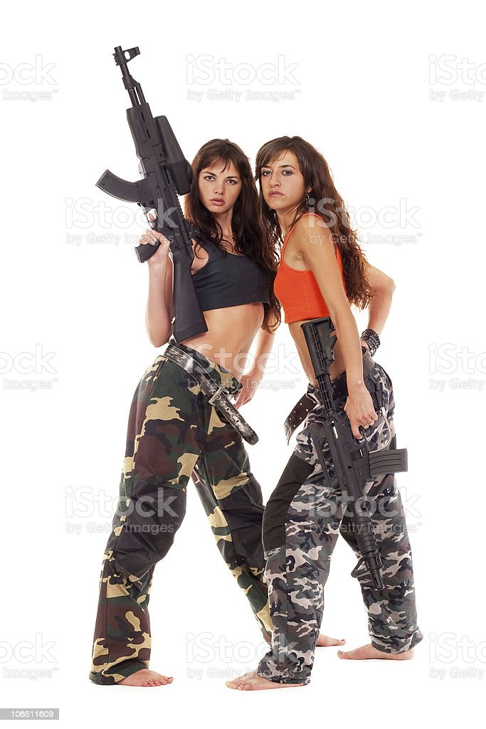 Two armed girls stock photo