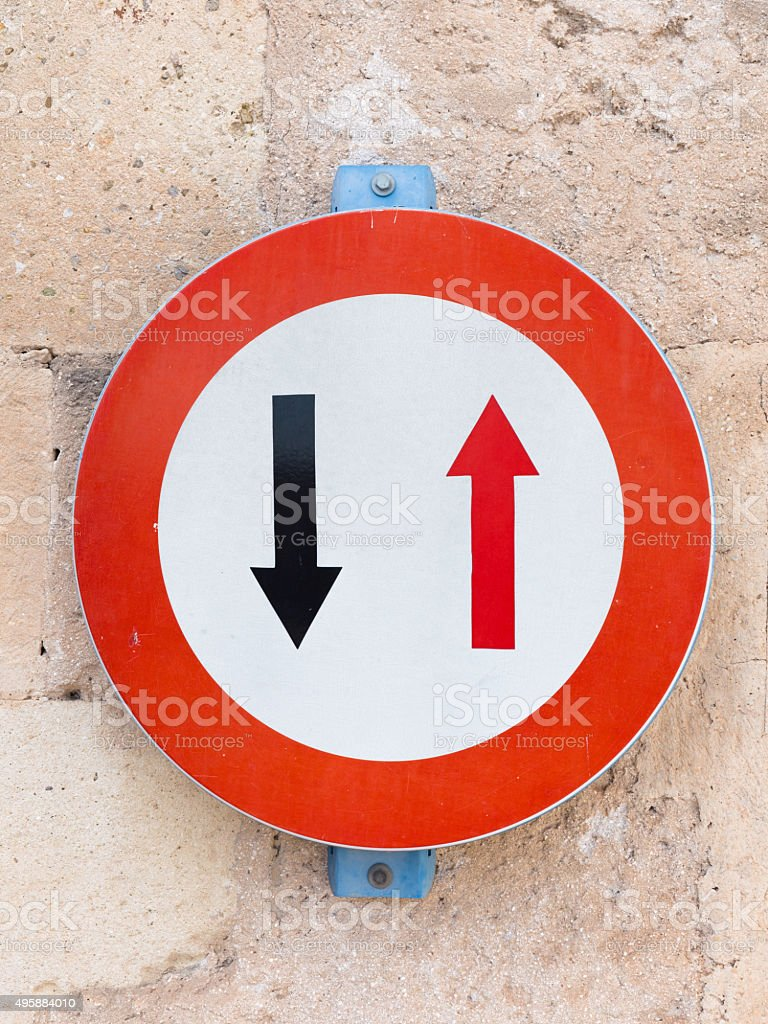 two arrows in the red circle stock photo