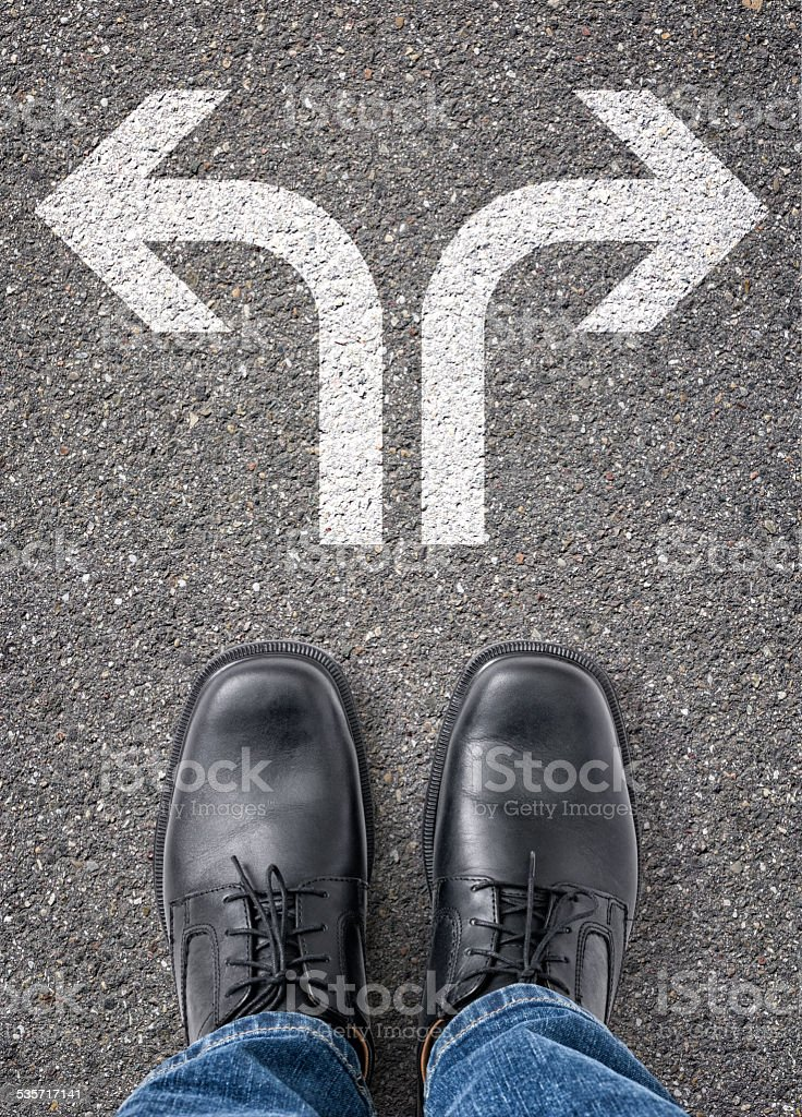 Two arrows on the floor stock photo