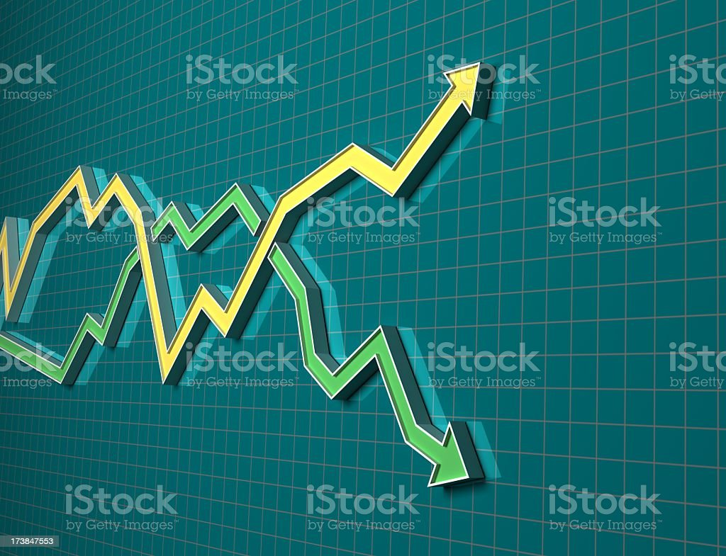 Two arrows showing improvement and failure stock photo