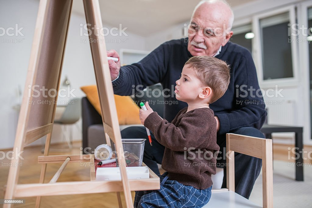 Two artists at home stock photo
