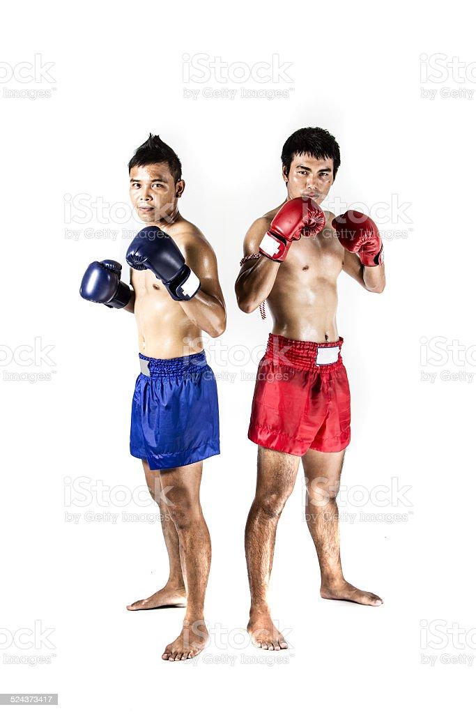 two asian men exercising thai boxing stock photo