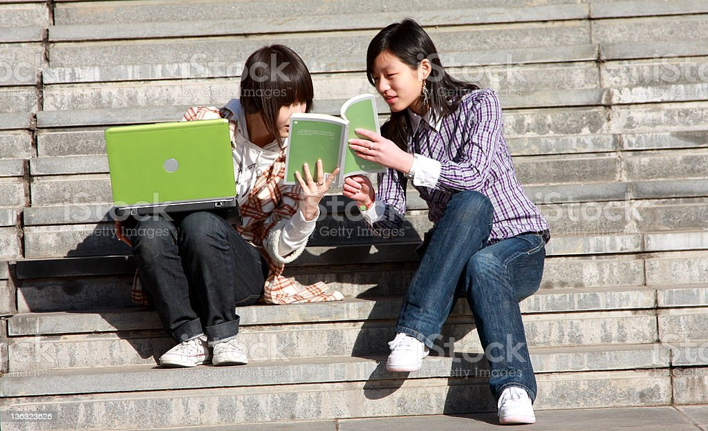 two asian students royalty-free stock photo