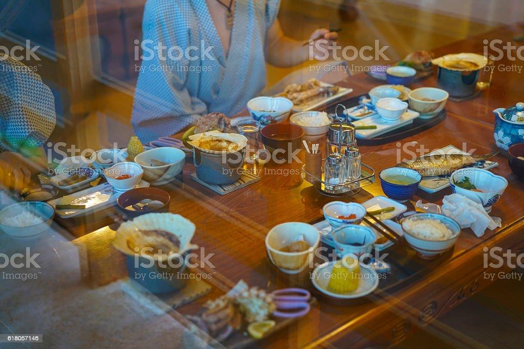Two at Diner in Utoro town at Shiretoko, Japan stock photo
