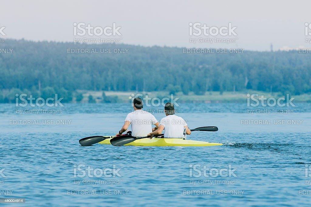 두 선수 있는 카약 royalty-free 스톡 사진