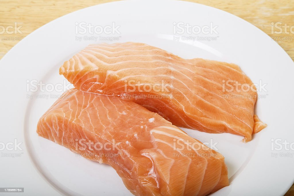 Two Atlantic Salmon Fillets on White Plate royalty-free stock photo