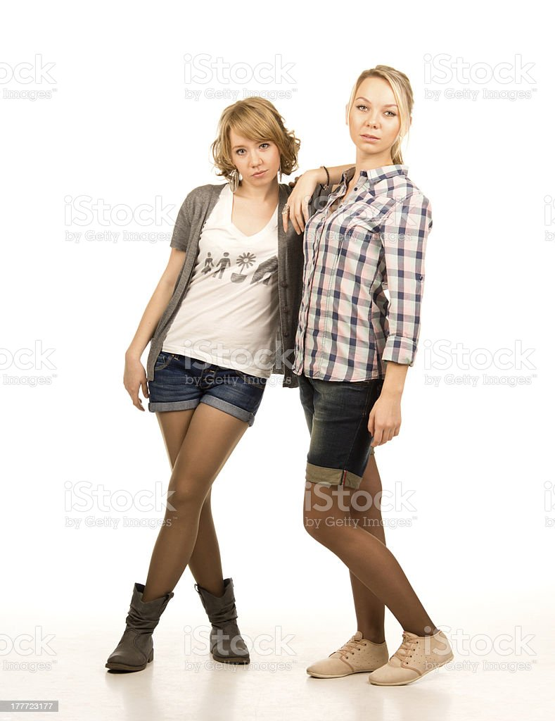 Two attractive blonde students royalty-free stock photo