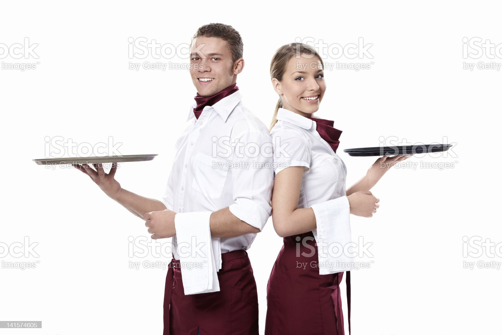 Two attractive waiters royalty-free stock photo